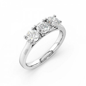 Trilogy Round Diamond Rings 4 Prong Setting in White gold / Platinum