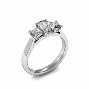 Trilogy Oval Diamond Rings 4 Prong Setting in Platinum