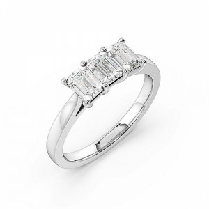 4 Prong Set Emerald Cut Trilogy Diamond Rings in Platinum