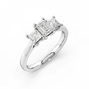 4 Prong Set Emerald Cut Trilogy Diamond Rings in Rose / Yellow Gold