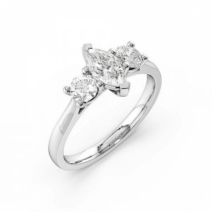 2 Prong Setting Marquise Trilogy Diamond Ring in White gold / Platinum