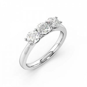 4 Prong Setting Round Trilogy Diamond Rings in White gold