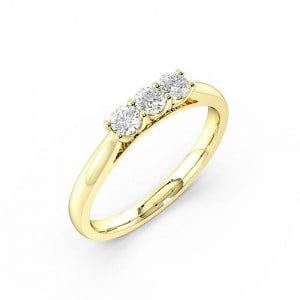 4 Prong Setting Round Trilogy Diamond Rings in Platinum