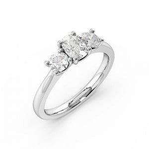 4 Prong Setting Cushion Trilogy Diamond Rings in White gold