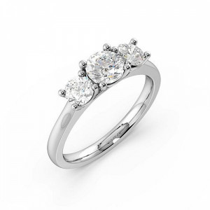 4 Prong Setting Round Trilogy Diamond Rings in Rose / White Gold