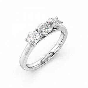 Round Trilogy Diamond Rings 4 Prong Setting in Yellow Gold