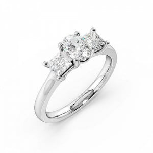 Oval Trilogy Diamond Rings 4 Prong Set in Platinum
