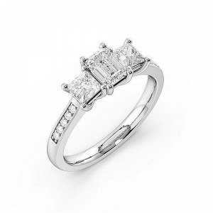 4 Prong Setting Studded Three Stone Ring Emerald Trilogy Diamond Ring in
