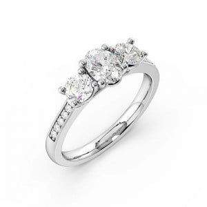 4 Prong Setting Studded Three Stone Ring Oval Trilogy Diamond Ring