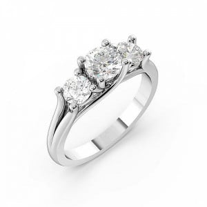Round 1.00 SI H-I ABELINI 9K White Gold Round Trilogy Diamond Rings 4 Prong Set in White gold