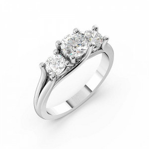 Round Trilogy Diamond Rings 4 Prong Set in White gold