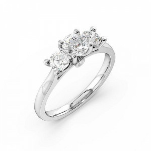 Round Trilogy Diamond Rings 4 Prong Setting in Rose / White Gold