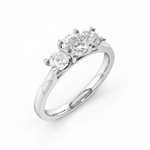 Round Trilogy Diamond Rings 4 Prong Setting in White gold / Platinum