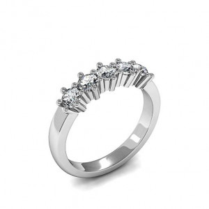 Round 1.00 SI D-E ABELINI 18K White Gold 6 Prong Set Five Stone Diamond Ring In White Gold / Platinum