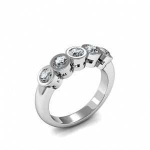 Round 0.50 I1 D-E ABELINI 950 Platinum Five Stone Diamond Ring Full Bezel Setting In Gold