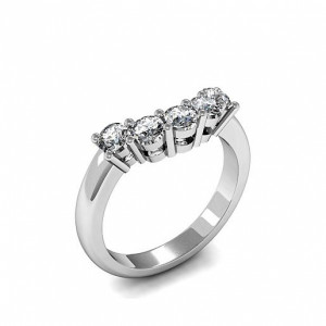 Round 0.75 VS D-E ABELINI 950 Platinum Five Stone Diamond Ring In Platinum 4 Prong Set