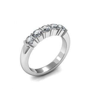 Round 0.75 VS D-E ABELINI 950 Platinum Semi Bezel & 4 Prong Setting Five Stone Diamond Ring