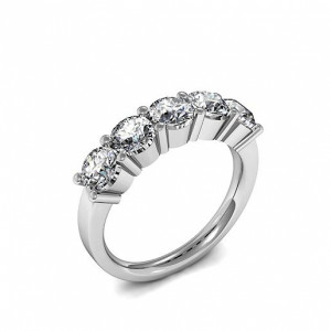Round 0.75 VS D-E ABELINI 950 Platinum 5 Stone Diamond Ring Yellow Gold Round Cut 4 Prong Set