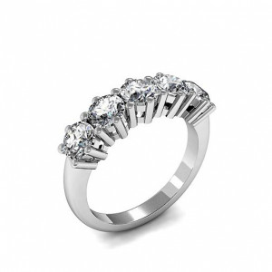 Five Diamond Ring 6 Prong Setting In Gold / Platinum Different Carats