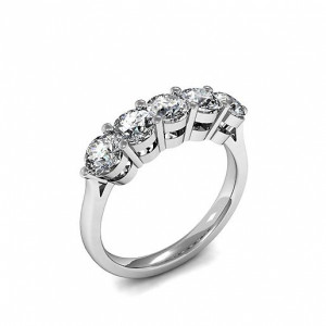 Prong Setting Five Stone Diamond Ring In Yellow Gold