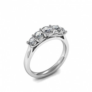 Prong Setting Five Stone Diamond Ring In Gold, Platinum & Different Carats