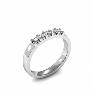 4 Prong Setting Five Stone Diamond Ring In Gold, Platinum And Different Carats