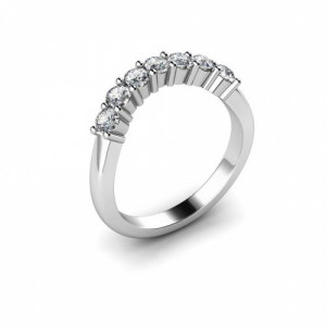 Platinum 7 Stone Diamond Ring 4 Prong Setting Uk