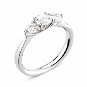 Round/Pear 0.80 VS D-E ABELINI 18K White Gold Prong Setting Round / Pear Trilogy Diamond Engagement Ring in Platinum