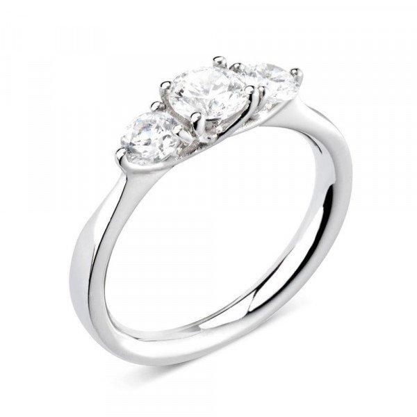 Prong Setting Round / Pear Trilogy Diamond Engagement Ring in Platinum