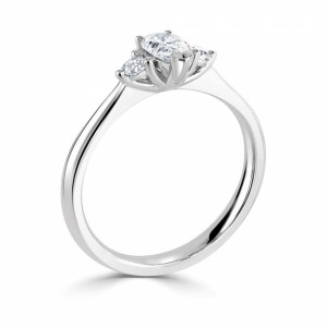 Pear Side Stone Engagement Rings in Trilogy Set Diamond