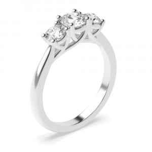Prong Setting Round Trilogy Diamond Engagement Ring in Platinum