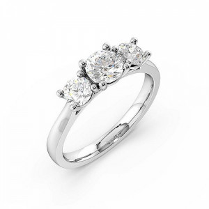 Prong Setting Round Trilogy Diamond Engagement Ring in Rose gold