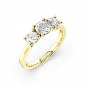 Round 1.25 VVS H-I ABELINI 18K Yellow Gold Prong Setting Round Trilogy Diamond Engagement Ring in Rose gold