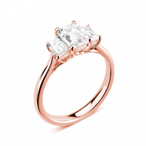 Emerald 2.00 I1 F-G ABELINI 18K Rose Gold Prong Setting Emerald Trilogy Diamond Engagement Ring in Rose gold