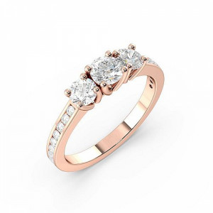 Prong Setting Round Trilogy Diamond Engagement Ring in White gold