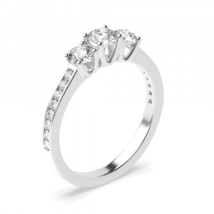 Round 1.50 SI F-G ABELINI 18K White Gold Prong Setting Round Trilogy Diamond Engagement Ring in White gold