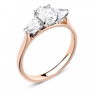 Oval/Pear 1.50 I1 D-E ABELINI 9K Rose Gold Prong Setting Oval & Pear Trilogy Diamond Engagement Ring in White gold