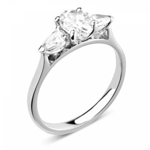 Oval/Pear 1.50 VVS F-G ABELINI 950 Platinum Prong Setting Oval & Pear Trilogy Diamond Engagement Ring in White gold
