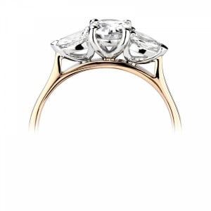 Oval/Pear 2.00 SI F-G ABELINI 9K Yellow Gold Prong Setting Oval & Pear Trilogy Diamond Engagement Ring in White gold