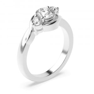 Round 1.25 SI D-E ABELINI 18K White Gold Prong Setting Round Trilogy Diamond Engagement Ring in Rose / White Gold