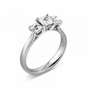 Princess 1.00 VS D-E ABELINI 9K Rose Gold Prong Setting Princess Trilogy Diamond Engagement Ring in Platinum
