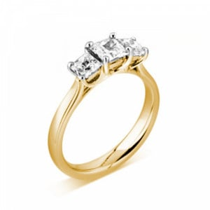 Princess 1.00 VS D-E ABELINI 9K Yellow Gold Prong Setting Princess Trilogy Diamond Engagement Ring in Platinum