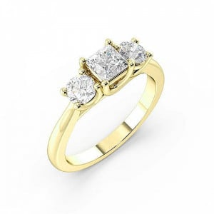Princess/Round 1.00 VS D-E ABELINI 18K Yellow Gold Prong Setting Princess & Round Trilogy Diamond Engagement Ring in Gold