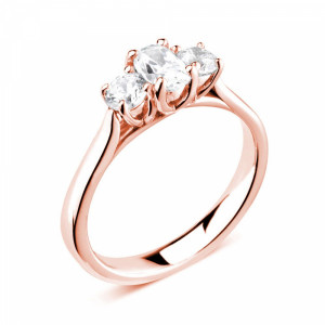 Oval/Round 0.80 VS H-I ABELINI 9K Rose Gold Prong Setting Oval / Round Trilogy Diamond Engagement Ring in White gold