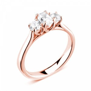 Prong Setting Oval / Round Trilogy Diamond Engagement Ring in White gold