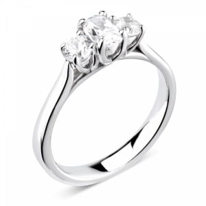 Oval/Round 0.50 VS F-G ABELINI 950 Platinum Prong Setting Oval / Round Trilogy Diamond Engagement Ring in White gold