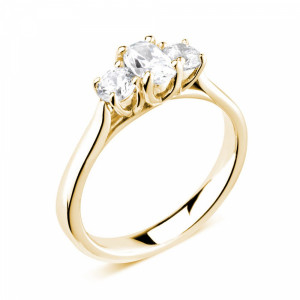 Oval/Round 0.80 VS H-I ABELINI 9K Yellow Gold Prong Setting Oval / Round Trilogy Diamond Engagement Ring in White gold