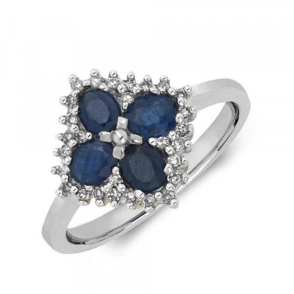 Gemstone Ring With 0.85ct Oval Shape Blue Sapphire and Diamonds