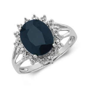 Gemstone Ring With 0.6ct Oval Shape Blue Sapphire and Diamonds
