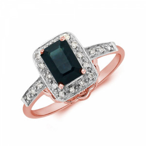 Gemstone Ring With 0.45ct Emerald Shape Blue Sapphire and Diamonds